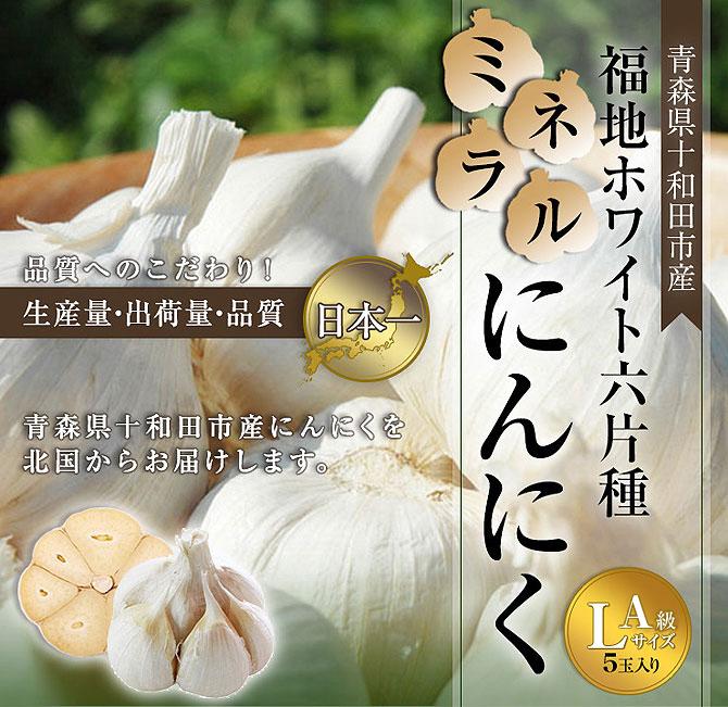 【青森県産福地ホワイト六片ミネラルにんにく】 C級Lサイズ 5玉入り(約330g)